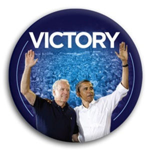 Victory Obama and Biden Photo Button