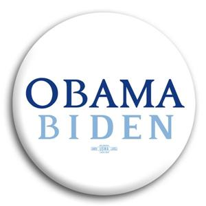 White Obama  Biden Button