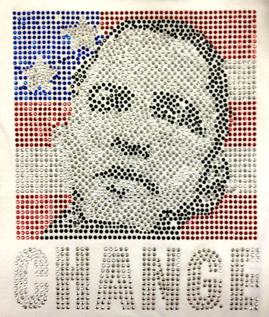 "White Obama Rhinestone Flag ""Change"" T-shirt"