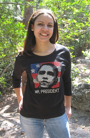 Womens 3/4 Sleeve Rhinestone Obama Shirts