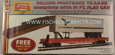 AHM 11103 Falcon Piggyback trailer with 51' flat car ASTF 90850 & CARGO DOCK