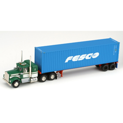 Athearn 27843 HO RTR Kenworth w/40' Cont & Chassis, Fesco #2