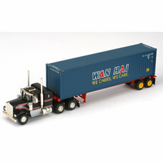 Athearn 27845 HO RTR Kenworth w/40' Cont & Chassis, Wan Hai #2