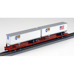 Athearn 93261 HO RTR 85' Flat w/2 40' Trailers, SF/Orange #89059