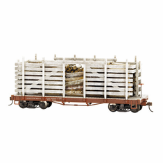 Bachmann 26899 On30 Pulpwood Car with Load, Unlettered, Weathered