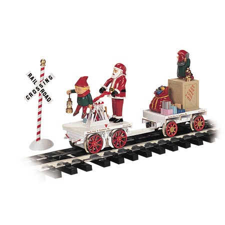 Bachmann 96241 G Hand Car Santa and elf with Christmas present tagalong