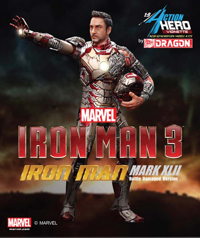 Dragon Models 38118 1/9 Iron Man 3 Mark XLII Bttl Damage Painted