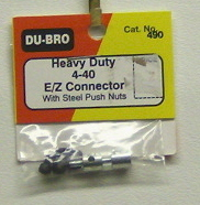 DuBro 490 Hvy Duty 4-40 E-X Connector with steel push nut