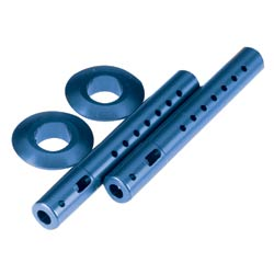 Dynamite DYN7210B Body Mounts with Spring Aluminum Blue: LST, LST2 AFT