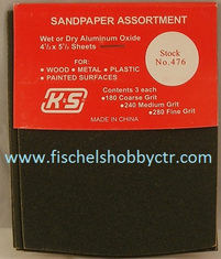 K&S 476 Sand Paper Assortment 9 sheets 180 240 & 280