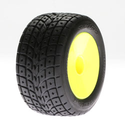 Losi LOSB1186 Front Street Treads Glued Yellow Wheels: Mini-T (2)