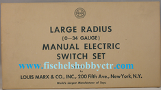Marx 810 Large Radius 0-34 Manual Switch Set Right and Left pair O SCALE NEW