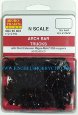 Micro-Trains Line 003 10 001 1010-10 Arch Bar trucks Short Mag RDA Assembled (10pr)