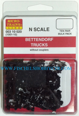 Micro-Trains Line 003 10 020 1001-10 Bettendorf trucks without couplers (10pr)
