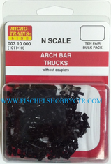 Micro-Trains Line 003 10 000 1011-10 Arch Bar trucks without couplers (10pr)