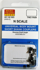 Micro trains Lines 001 02 003 1015-1 Universal Body Mount Short Shank Couplers assembled