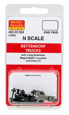 Micro trains Lines 1002 003 02 024 Bettendorf Trucks With Couplers, Extended Bolster 1 Pair