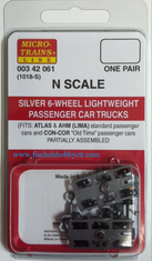 Micro trains Lines MTL 1018-S 00342061 6 wheel lightweight SILVER passenger trucks N