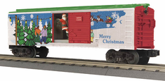 MTH 30-79312 Operating Box Car w/Signal Man - Christmas o-27