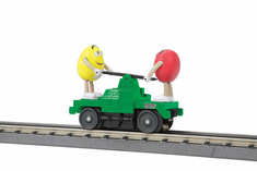 MTH 30-2597 O-27 M&M's Operating Hand Car With RED AND YELLOW figures