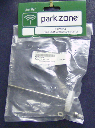 ParkZone pkz1504 Prop shaft w/ hardware: p-51d