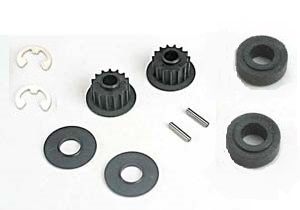 Traxxas 4395 Pulley 15-groove (2), axle pins (2), top shaft spacers (2) Plastic