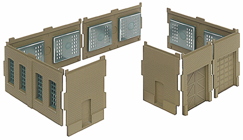 Walthers 933-3285 Cornerstone Modulars Walls w/Vehicle Doors N scale
