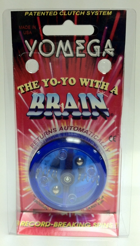 Yomega Brain Yo-Yo Blue with Clear center with light Blue arms