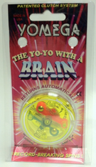 Yomega Brain Yo-Yo Clear with fluorescent Green (Yellow) Center