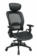 Breathable Mesh Seat and Back Managers Chair with Adjustable Headrest