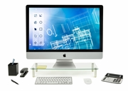 Computer Monitor Riser Tempered Glass Stand and Desk Organizer