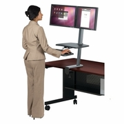 <b>Single or Dual Monitor</b> UpRite Desk Mounted Sit to Stand Workstation