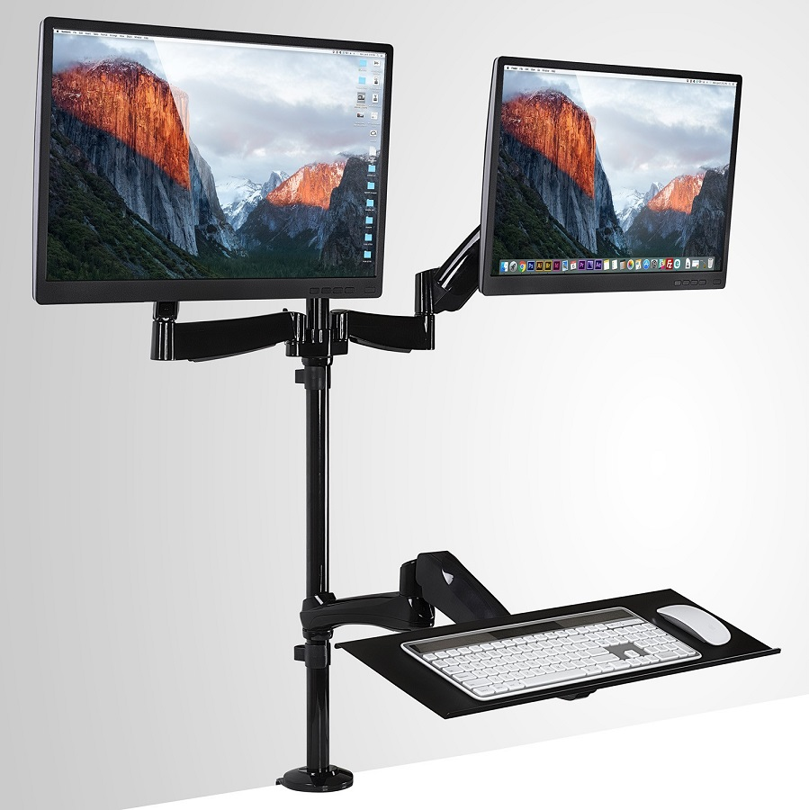 To Enlarge Dual Sit Stand Monitor Desk Mount With Keyboard Tray