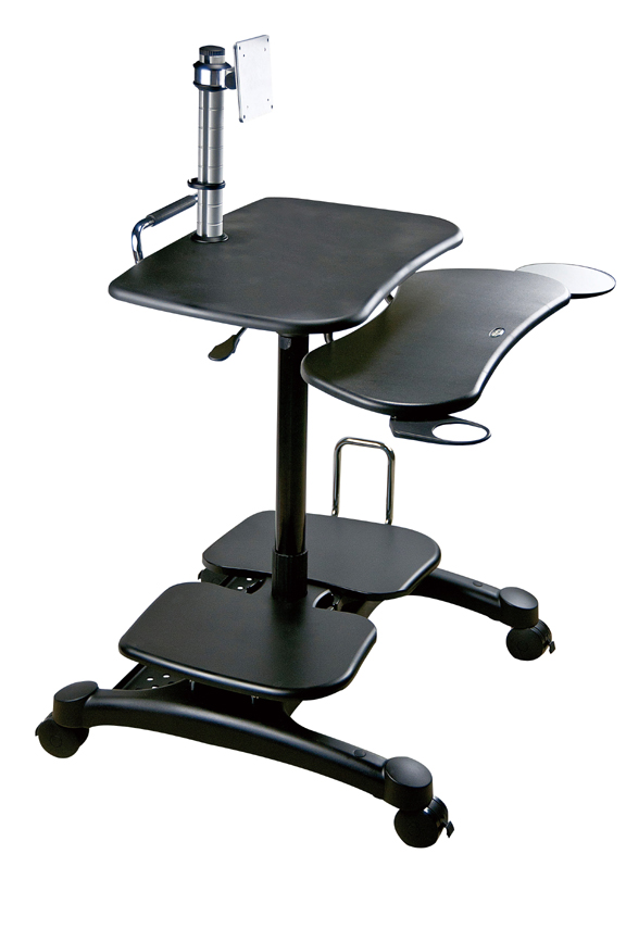 Mobile Computer Desk with LCD Pole Mount for up to 30