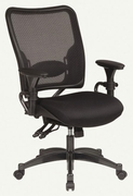 SPACE|Dual Function Ergonomic Air Grid Chair w/ Gunmetal Finish Acce