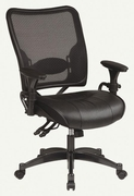 SPACE|Dual Function Ergonomic Air Grid Chair w/ Leather Seat