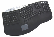 Tru-Form Pro - Contoured Ergonomic MM Wired Keybd w/Built-In Touchpad & Hot Keys - Black