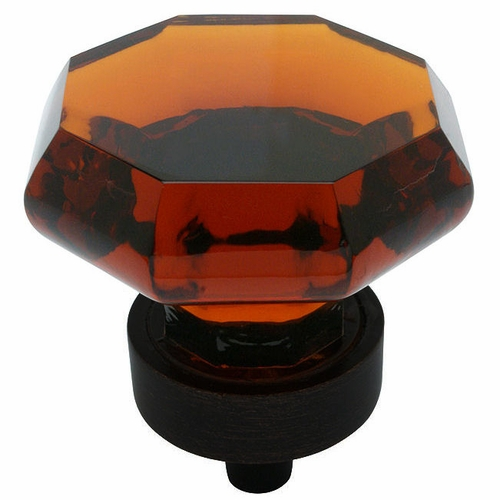 Cosmas 5268ORB-A Oil Rubbed Bronze & Amber Glass Cabinet Knob