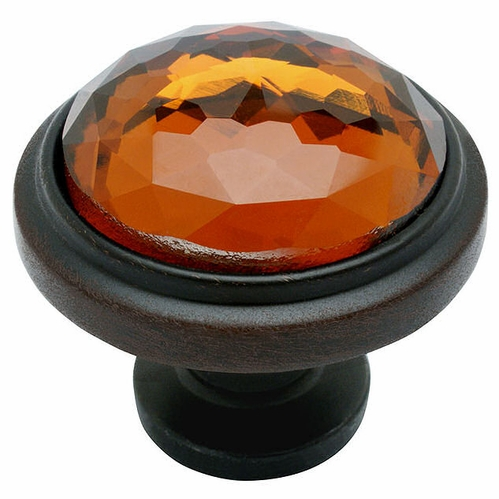 Cosmas 5317ORB-A Oil Rubbed Bronze & Amber Glass Round Cabinet Knob