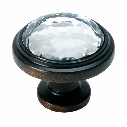 Cosmas 5317ORB-C Oil Rubbed Bronze & Clear Glass Round Cabinet Knob