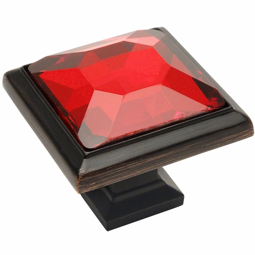 Cosmas 5883ORB-RED Oil Rubbed Bronze & Red Glass Square Cabinet Knob