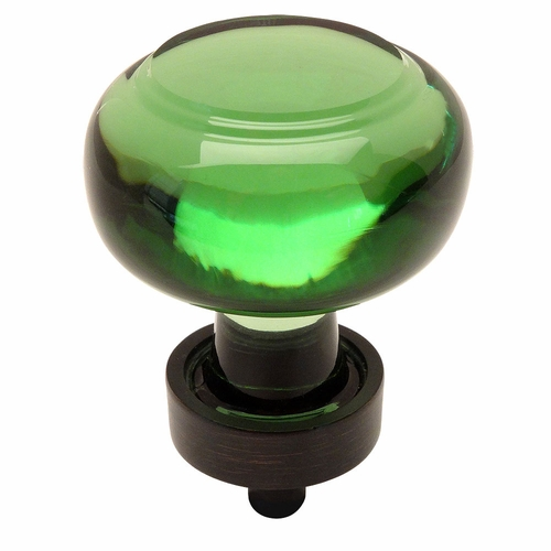 Cosmas 6355ORB-EM Oil Rubbed Bronze & Emerald Glass Round Cabinet Knob