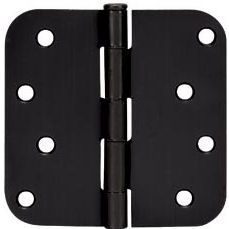 "Door Hinge, 4"" with 5/8"" Radius (Matte Black)"