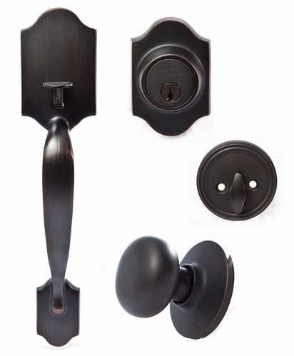 Hertford Front Door Handleset With Rutherford Interior Knob (Oil Rubbed  Bronze)