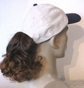 Tan Baseball cap <br>  with synthetic curly redish brown ponytail