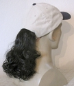 Light Tan Baseball cap with synthetic curly ponytail - SOLD