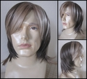 Dark brown layered <br> Synthetic Man's Wig with beige blonde front