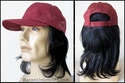 100 % Black Human Hair on a burgundy base ball cap