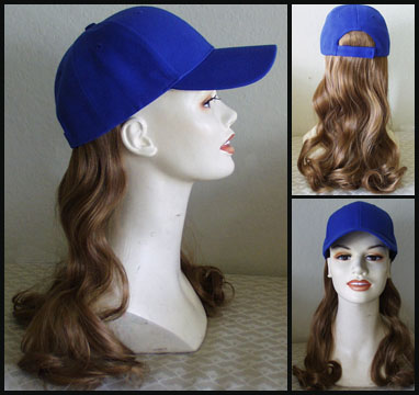 long synthetic hair baseball cap attached