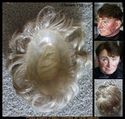 Man's Human Hair Toupee Measures 6 x 8 3/4.